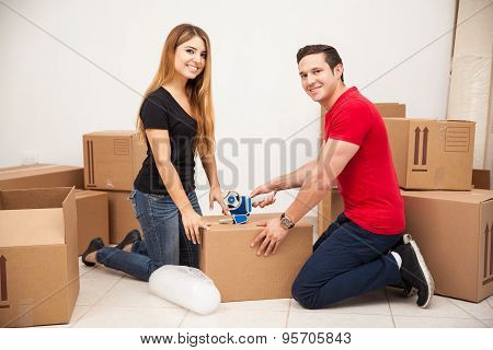Happy Couple Moving Out