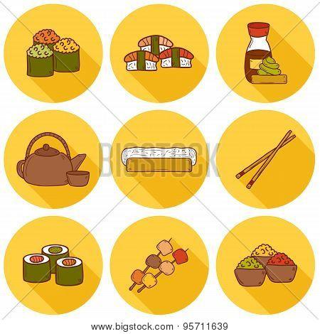 Set of cute cartoon hand drawn icons with shadows on japanese cuisine theme: tea pot, rolls, sushi,