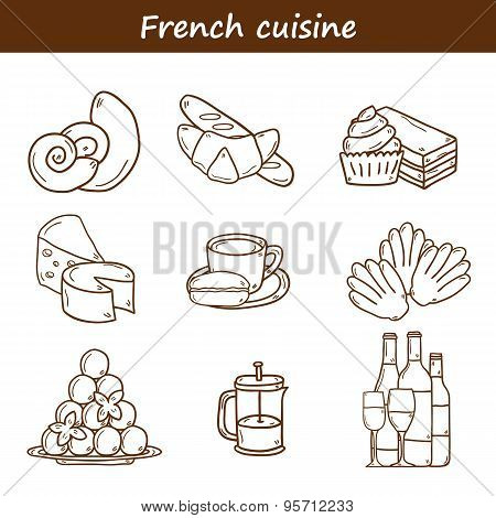 Set of cartoon cute hand drawn outline icons on french cuisine theme: cheese, wine, macaroon, crioss