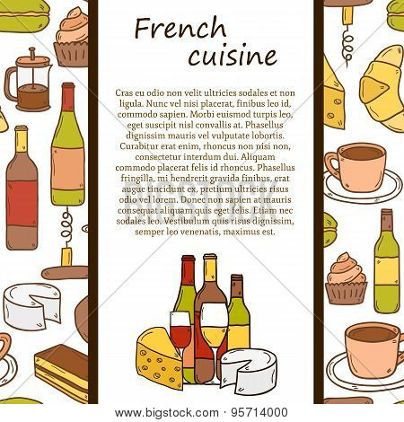 Vector french cuisine concept with cartoon cute hand drawn objects and seamless background on french
