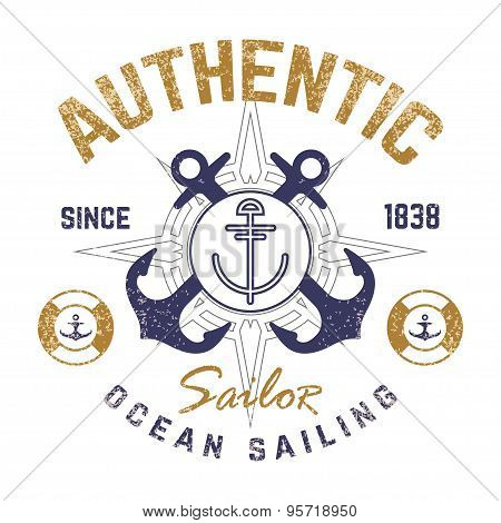 Nautical theme t-shirt design with illustrated anchor