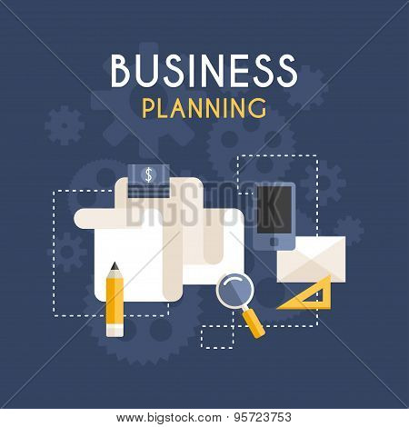 Flat Design Vector Business Concept. Business Planning
