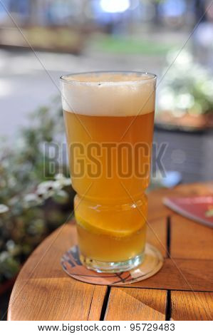 Beer With Lemon On Table