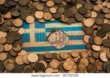 grungy Greek flag on euro coins background