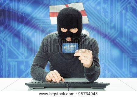 Hacker Holding Credit Card And Canadian Province Flag On Background - Alberta
