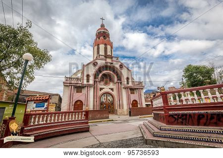 Cathedra near Plaza De Armas in Peruvian city of Huaraz