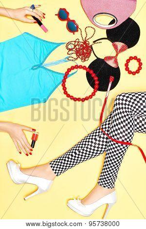 Set of stylish fashion clothes, womans slim legs, accessories