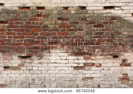 Old Broken Rough Red White Brick Wall Background