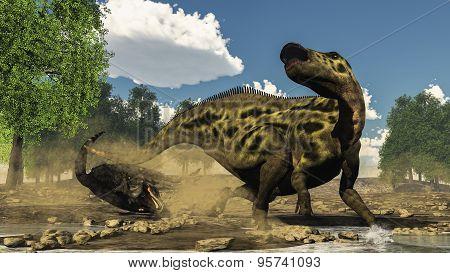Shantungosaurus defending from tarbosaurus dinosaur attack - 3D