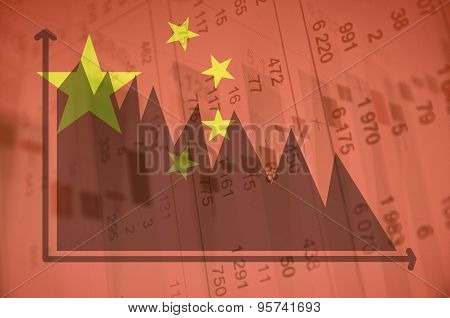 Flag of China and downtrend diagram