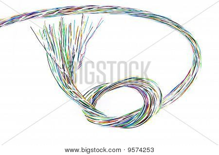 Multicolored Phone Cable Knot Over White Background