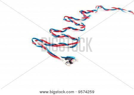 Three Russian Flag Color Complex Patchcords Over White Background