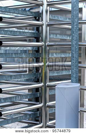 Full-height Turnstile Guarded Stadium Entrance