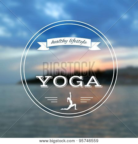 Name of yoga studio on a sunset background.