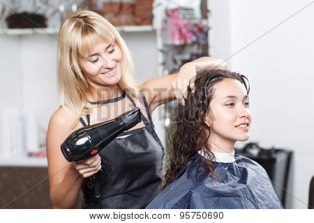 Professional nice hairdresser holding hairdryer