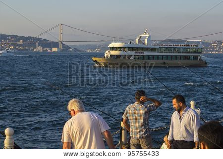 Fishermen, Bosphorus and ship