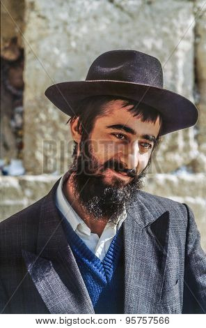 Orthodox Jewish Man Prays At The Western Wall