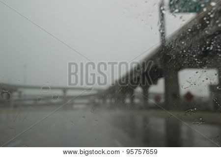 Highway Driving on a Gray Rainy Dreary Day