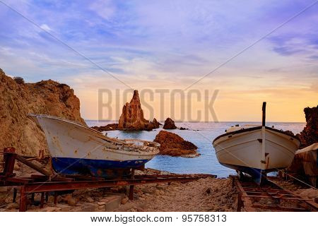 Almeria Cabo de Gata las Sirenas sunset rocks in Mediterranean sea of Spain