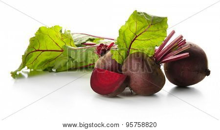 Young beets with leaves isolated on white