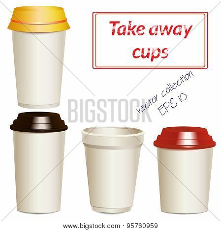 Collection of photorealistic take away hot drink cups