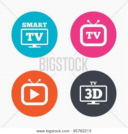 Circle buttons. Smart 3D TV mode icon. Widescreen symbol. Retro television and TV table signs. Seamless squares texture. Vector poster