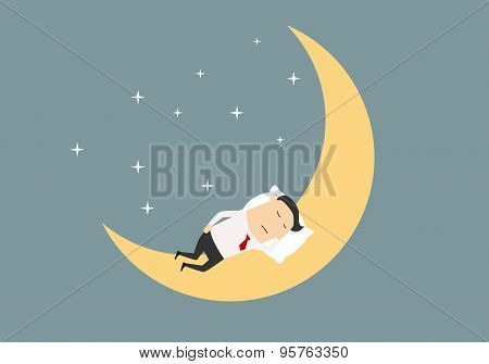 Cartoon businessman sleeping on the moon