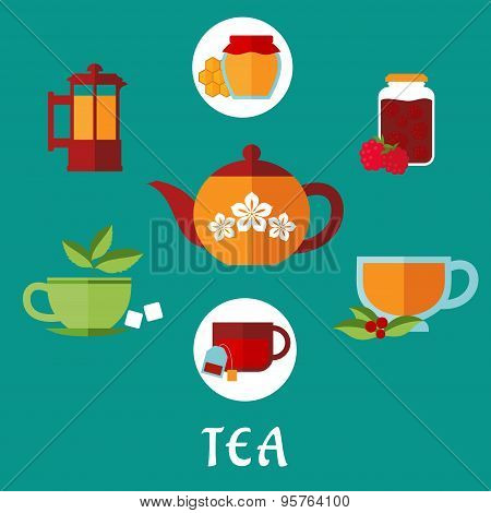 Flat tea icons with teacups and teapots