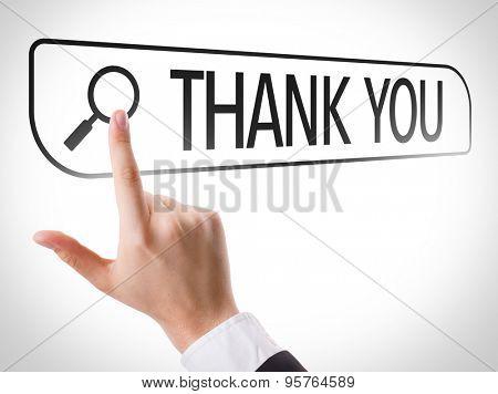 Thank You written in search bar on virtual screen