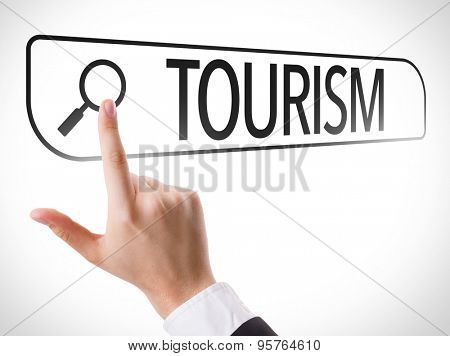 Tourism written in search bar on virtual screen poster