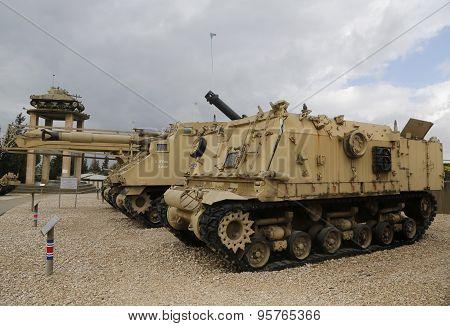 M50 Sherman self-propelled gun,modified versions of the American M4 Sherman tank, on display