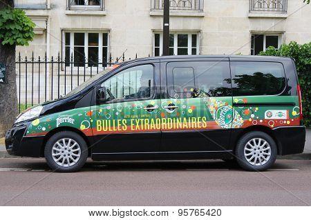 Peugeot van with Perrier logo at Le Stade Roland Garros in Paris