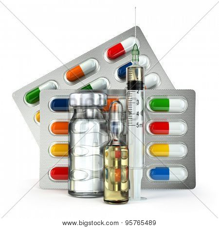 Concept of madicine. Pills, vial, ampoule and syringe isolated on white. 3d