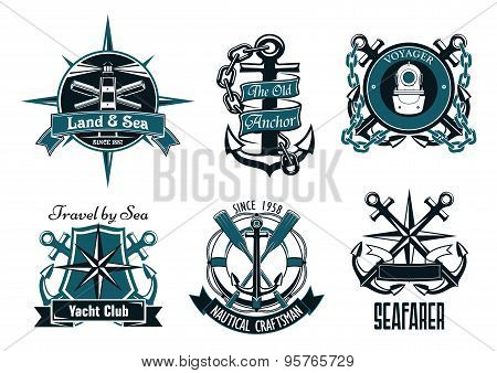 Retro marine and nautical heraldic emblems