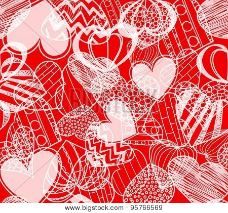 Seamless background of hearts on red. Raster version