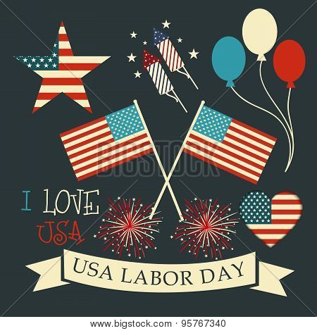illustration of a background for Labor Day, United States of America. poster