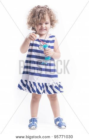 Femal Child With Soap Bubbles