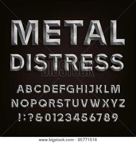 Metal Beveled Distressed Font. Vector Alphabet.
