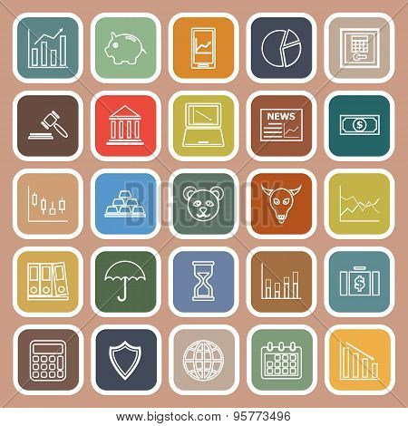 Stock Market Line Flat Icons On Brown Background