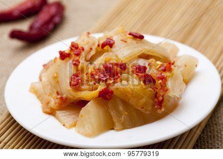 Spicy Korean kimchee on plate