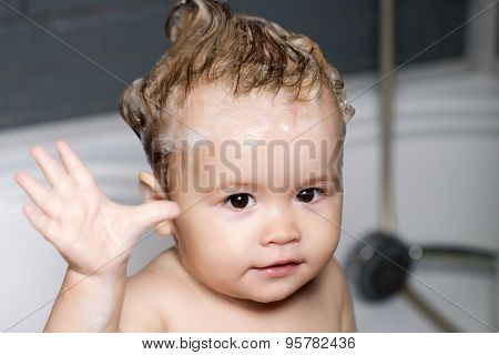 Portrait Of Nice Baby With Lathered Hair