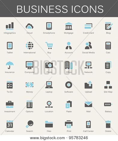Business services and finance tools icons. Modern vector pictograms