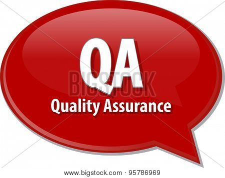 Speech bubble illustration of information technology acronym abbreviation term definition QA Quality Assurance