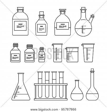 chemical glassware icons set. The test tube beaker flask poster
