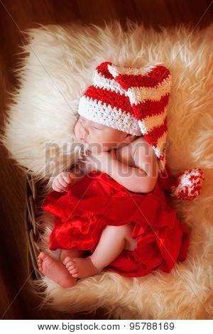 Christmas sleeping newborn baby