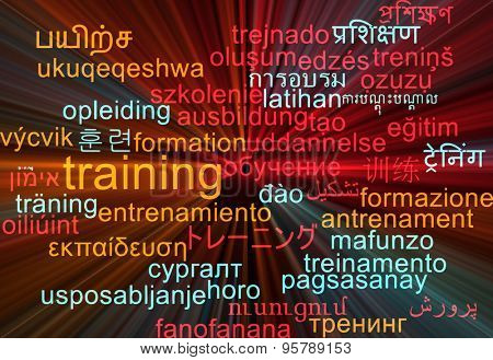 Background concept wordcloud multilanguage international many language illustration of training glowing light