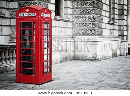 Red phone box in London,
