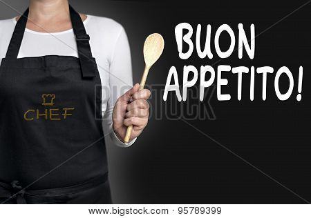 Buon Appetito Cook Holding Wooden Spoon Background