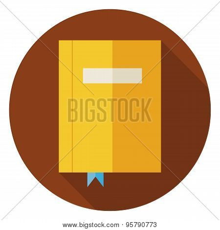 Flat Book With Bookmark Circle Icon With Long Shadow