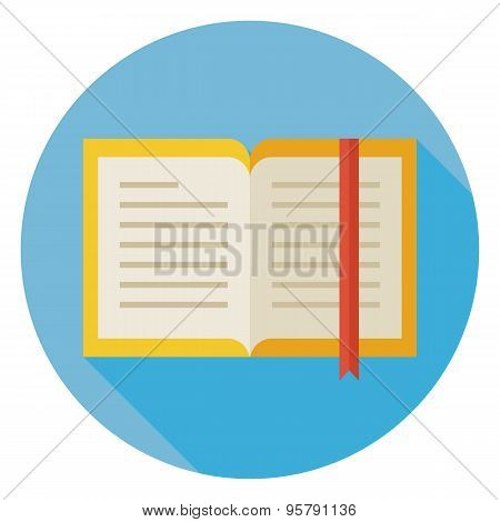 Flat Open Book With Bookmark Circle Icon With Long Shadow